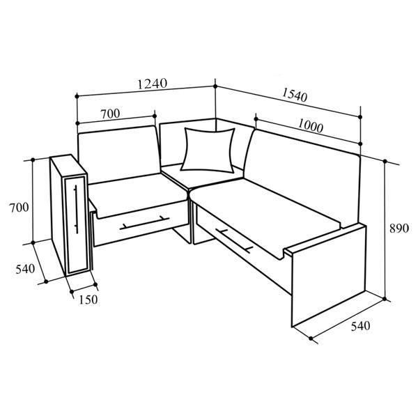 Кухонный уголок «КУ-50С» 1540