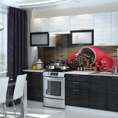 Кухня «Валерия» 2,6 м (страйп белый / страйп черный) модульная