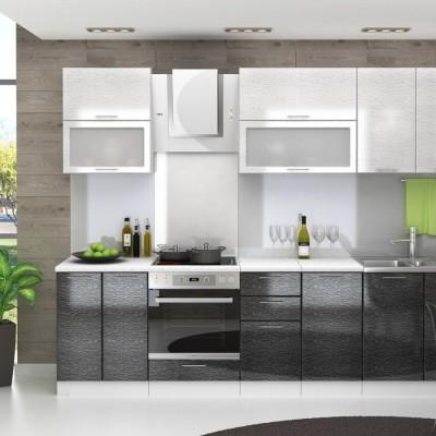 Модульная кухня «Валерия» 2,7 м (серый дождь/черный дождь)