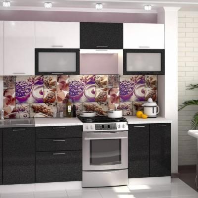 Модульная кухня «Валерия» 2,6 м (металлик белый/черный)