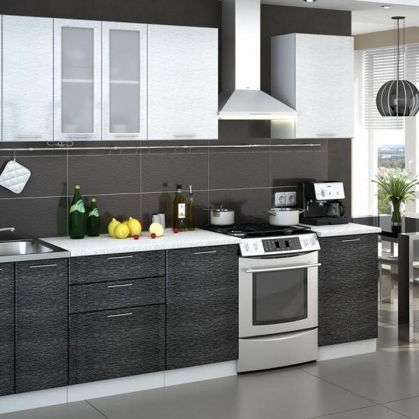 Кухня «Валерия» 2,2 м (металлик серый / белый) модульная