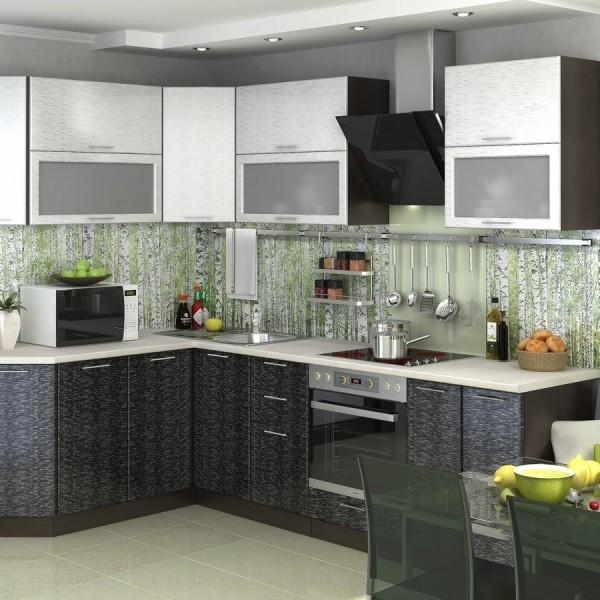 Кухня «Валерия» 1,6 х 2,59 м (дождь серый/дождь черный) модульная