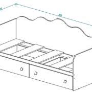 """Кровать с ящиками """"Париж"""" Кр-24 схема"""