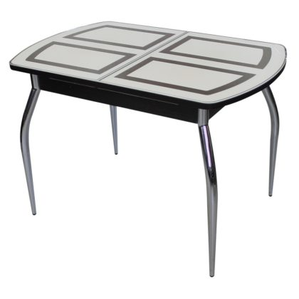 Стол обеденный «Asti-01» (опора гнутая хром) дуб венге/стекло