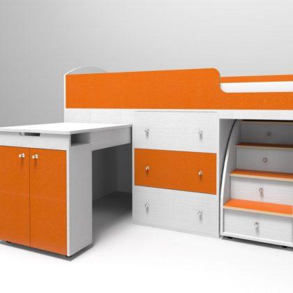 """Кровать чердак """"Малыш 1800"""" белое дерево/оранжевый"""