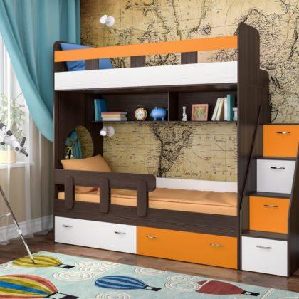 """Кровать двухъярусная """"Юниор-1"""" бодего/оранжевый/белое дерево"""
