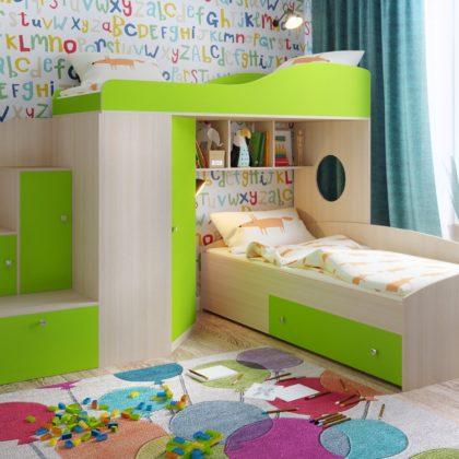 """Кровать чердак """"Кадет-2""""дуб молочный/зеленый"""