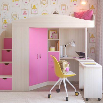 """Кровать чердак """"Юниор-4"""" белое дерево/розовый"""