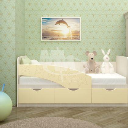 """Кровать детская """"Бабочки"""" 1,6 м (ваниль глянец)"""