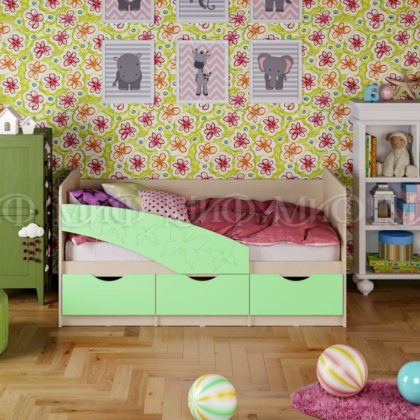 """Кровать детская """"Бабочки"""" 1,8 м (салатовый матовый)"""