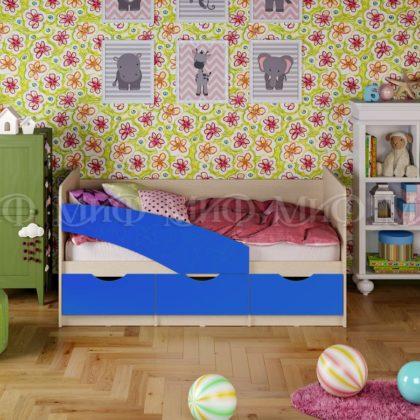 """Кровать детская """"Бабочки"""" 2,0 м (синий матовый)"""