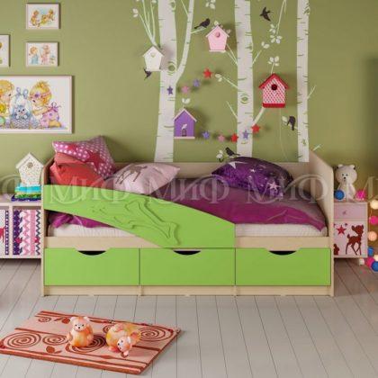 """Кровать детская """"Дельфин"""" 1,8 м (салатовый матовый)"""