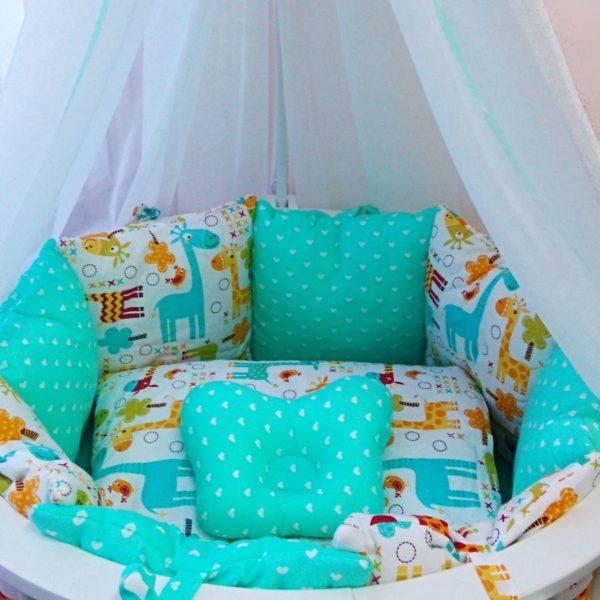 """Комплект в кроватку """"Жирафы"""" 17 предметов"""