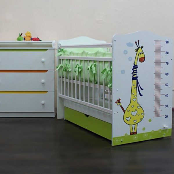 """Кроватка детская """"Жираф"""" с маятником+Комод"""