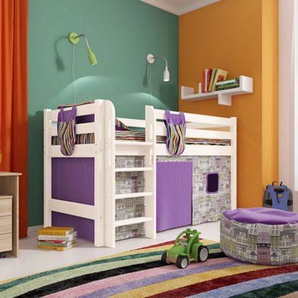"""Кровать низкая """"Соня"""" (вариант 11) с прямой лестницей"""
