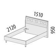 """Кровать двуспальная 1,4 м """"Розали"""" 96.02 схема"""