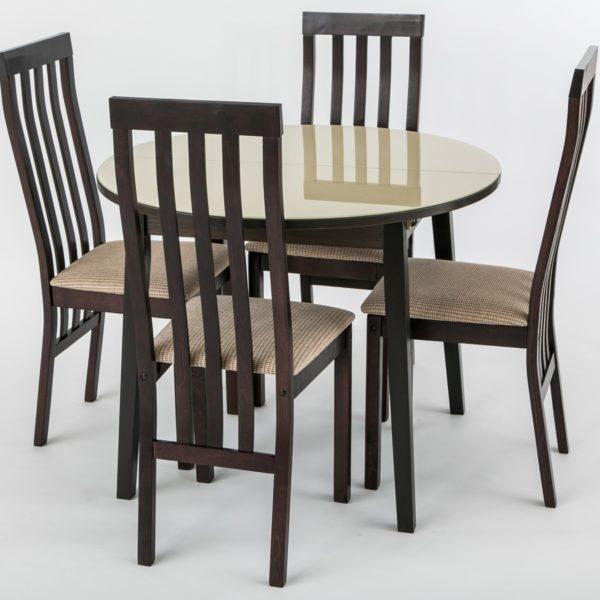 """Стол обеденный """"Топаз"""" (стекло бежевое)+Стул """"Зетта"""" темно коричневый ткань флекс коричневый"""