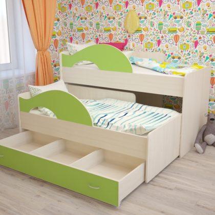 """Кровать детская двухуровневая """"Радуга"""" 80*160, млечный дуб_салатовый1"""