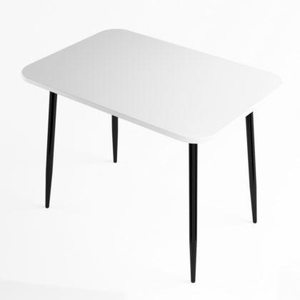 Стол обеденный (белый глянец-черный глянец),МДФ