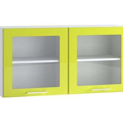 Ритмо ШВ1003 Шкаф верхний со стеклом лайм глянец