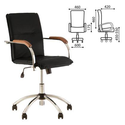 Кресло Samba GTP, деревянные накладки, хром, кожзам черный - 1