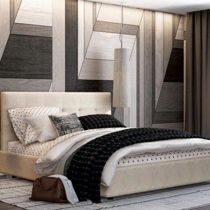 """Кровать двуспальная мягкая """"Капри"""" basel_white"""