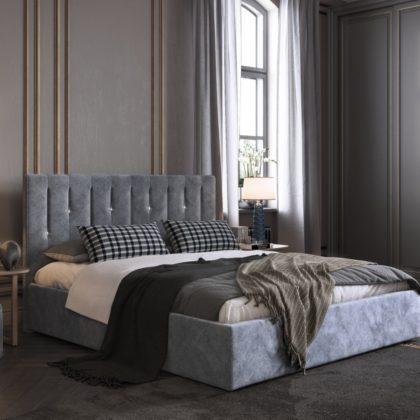 """Кровать двуспальная мягкая """"Кристи"""" 1,6 м (велюр)"""