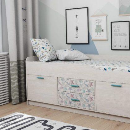 Кровать двухъярусная Каприз-19 с рисунком Ракушки КПР.19