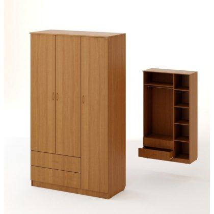 Шкаф распашной 3-х створчатый с 2 ящиками ШК-16 бук темный