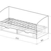 """Кровать детская с ящиками """"Скай"""" М14 схема"""