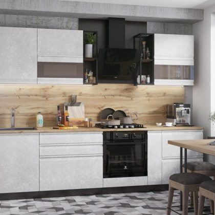 "Модульная кухня ""Бруклин"" (белый бетон)"