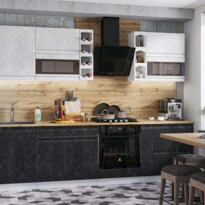 """Модульная кухня """"Бруклин"""" (белый/черный бетон)"""
