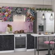 "Кухонный гарнитур ""София-Ice cream pink"" 2,1 м (бетон черный)"