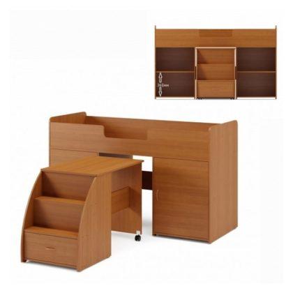 Кровать-чердак с выдвижным столом и лестницей КР-21