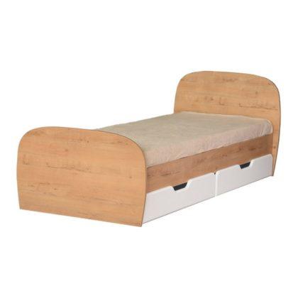 """Кровать детская с ящиками """"Скай"""" М13 (дуб бунратти/белый глянец)"""