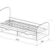 """Кровать детская с ящиками """"Скай"""" М13 схема"""