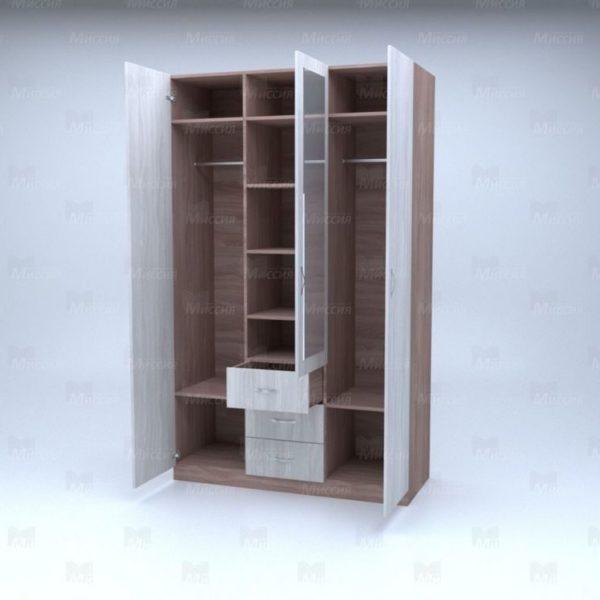 """Шкаф трехстворчатый с ящиками и зеркалом """"Лира"""""""