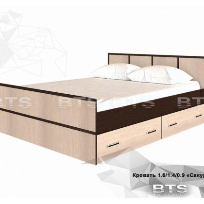 """Кровать двуспальная с ящиками 1,4м """"Сакура"""" (BTS)"""