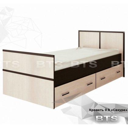 """Кровать односпальная с ящиками 0,9м """"Сакура"""" (BTS)"""