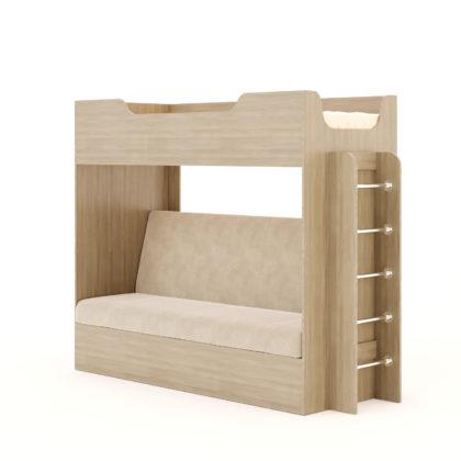 Кровать двухъярусная с диваном КР-11, ясень светлый