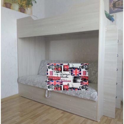 Кровать двухъярусная с диваном и матрасом (ясень шимо светлый/печать штамп красный)