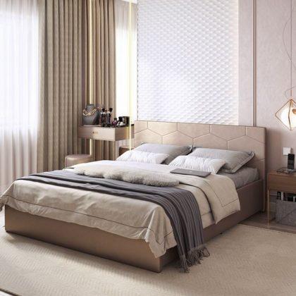 """Кровать двуспальная мягкая """"Квантум"""" 1,6 м, бронза"""