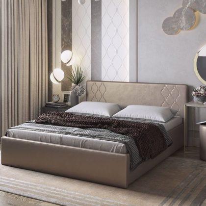 """Кровать двуспальная мягкая """"Моника"""" 1,6 м, бронза"""