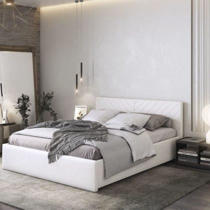 """Кровать двуспальная мягкая """"Сандра"""" 1,6 м, белый"""