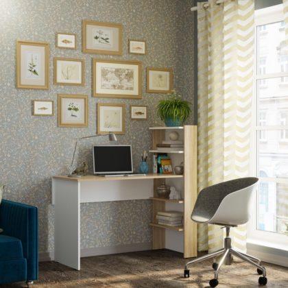 Компьютерный стол №3, белый/дом сонома