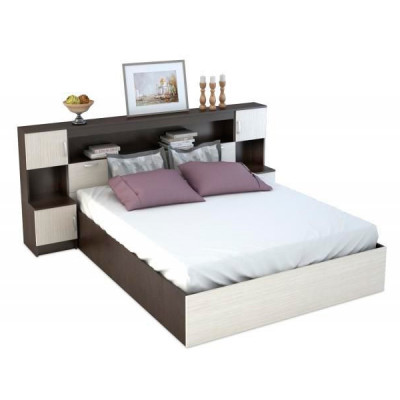 Кровать с закроватным модулем КР 552 Бася венге-дуб