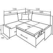 Кухонный уголок КУ-50С 1540 мм схема