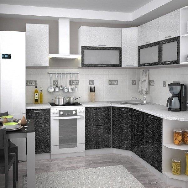 Кухня «Валерия» (дождь серый/дождь черный) модульная