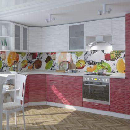Модульная кухня «Валерия» (страйп белый/красный)