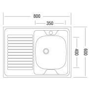 Мойка для кухни накладная AS03173 схема